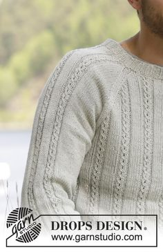 Strikket DROPS genser til herre i Belle med fletter og raglan. Str S - XXXL Mens Knitted Cardigan, Men Sweater, Knitting Patterns Free, Free Knitting, Drops Design, Raglan Pullover, How To Purl Knit, Knitting For Beginners, Jumper