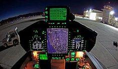 Backseat F/A-18G at night