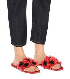 Miu Miu - Floral embellished velvet slides | mytheresa.com