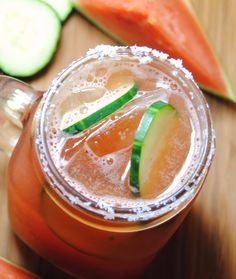 Two of the freshest tastes put together in one drink....with tequila no less!  Watermelon Cucumber Margarita
