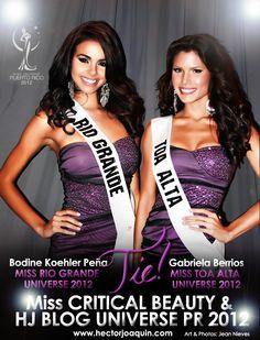 Miss Critical Beauty & HJ BLOG Universe Puerto Rico 2012. Bodine Koehler Peña - Miss Río Grande & Gabriela Berrios - Miss Toa Alta. Banner by Jean Nieves ART & PHOTOGRAPHY