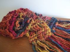 Falling Leaves Drop Stitch Scarf Long Fringed Scarf by AuntBsAttic