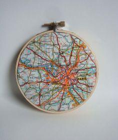 Vintage Paris Map in Hoop. $15.00, via Etsy.  CUTE