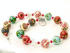 Millefleur necklace, fimo beads,  handgefertigte Perlen aus Polymer Clay, arcilla,  von filigran-Design   auf DaWanda.com