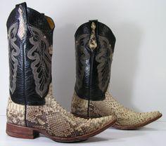 vintage cowboy boots mens 75 D bone black by vintagecowboyboots, $89.99