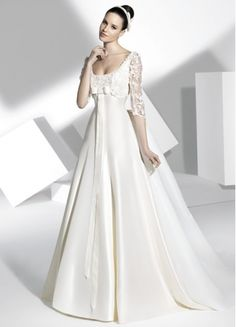 Pretty A-line Satin 3/4 Sleeves Chapel Train Appliques And Bowknot Wedding Dress