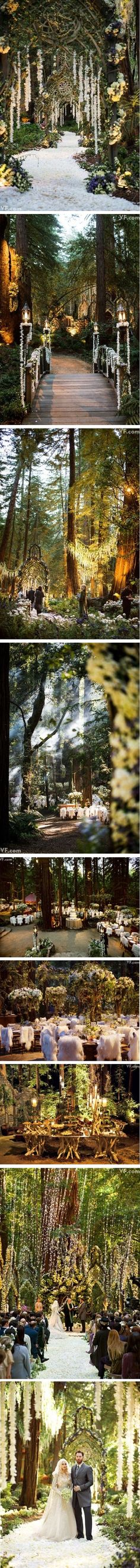 elvish wedding from heaven. Damn good things to look at. I am just shocked there are people who can afford to have weddings like this. I really wish I could do something like this! Wedding Goals, Wedding Themes, Wedding Planning, Dream Wedding, Wedding Decorations, Cop Wedding, Wedding Swing, Wedding Fur, Crazy Wedding