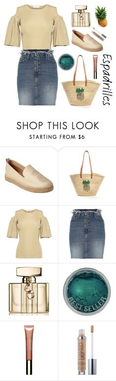 """""""Espadrilles"""" by sukia ❤ liked on Polyvore featuring Kaanas, Ganni, River Island, Gucci, Clarins and Urban Decay"""