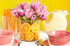 Creative Centerpieces - Home Made Simple Let your table shine with four fun and creative centerpieces that will have everyone talking. Home Made Simple is your resource for innovative home décor ideas. Summer Centerpieces, Floral Centerpieces, Table Centerpieces, Centerpiece Ideas, Floral Arrangements, Inexpensive Centerpieces, Easter Centerpiece, Centerpiece Wedding, Centrepieces