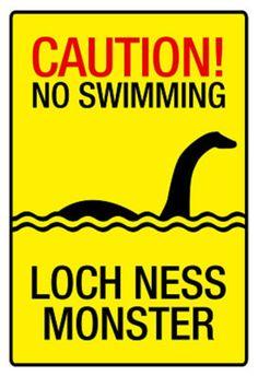Caution Loch Ness Monster Sign Art Poster Print Masterprint