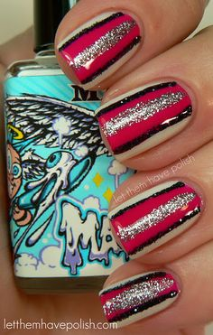 Striped Nails: ManGlaze Mayonnaise, Zoya Dana, Sally's stripers in Silver Glitter & Black Glitter.
