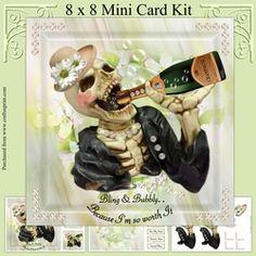 Mrs Bones on Craftsuprint - View Now! Card Kit, Card Designs, Bones, Decoupage, Bubbles, Card Making, Baseball Cards, Mini, Birthday