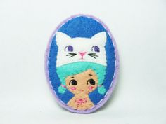 A girl with a white cat hat felt brooch  made to by hanaletters, $17.00