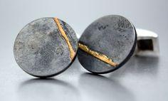 Agatha Leerdam - Cufflinks, oxidized silver and 18kt gold