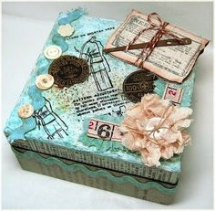 *to use up some of the old sewing notions* Altered Box turquoise, buttons Altered Cigar Boxes, Altered Tins, Altered Art, Decoupage Vintage, Vintage Crafts, Decoupage Ideas, Organize Plastic Containers, Cigar Box Crafts, Gift Card Boxes