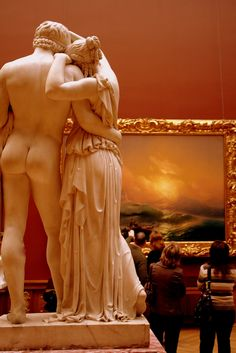 """At the State Russian Museum, Saint-Petersburg. Statue: """"Faun and Bacchante"""", Boris Orlovsky. Painting: """"The Ninth Wave"""", Ivan Konstantinovich Aivazovsky Kunsthistorisches Museum, Night At The Museum, Marble Art, Marble Painting, Museum Of Fine Arts, Art Museum, Pablo Picasso, Oeuvre D'art, Art History"""