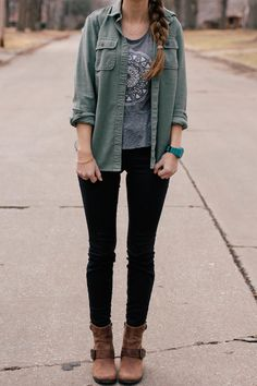 Dull Army + Rock Tee + Black Skinnies + Boots