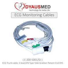 ECG Trunk Cable, 5 lead, DIN type yoke End, Grabber patient  End   DYS E200-5001/GI  scorpia sales & service carnival 2015