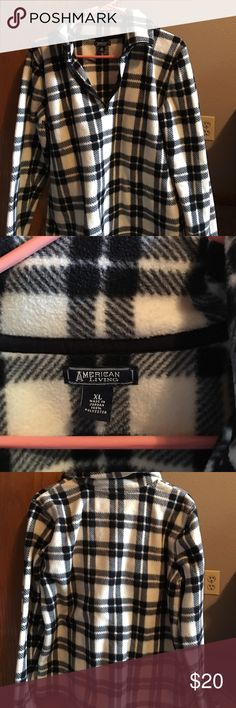 American living size XL half zip fleece American living size XL half zip fleece checkered black and white in good condition worn a few times but is still very soft and looks great American living Jackets & Coats
