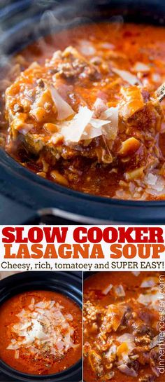 Slow Cooker Lasagna Soup - Dinner, then Dessert Slow Cooker Lasagna Soup with all the classic flavors of lasagna with all the warming flavors of soup. Just set it and forget it, serve with garlic bread! Crock Pot Soup, Crock Pot Slow Cooker, Slow Cooker Recipes, Crockpot Recipes, Cooking Recipes, Delicious Recipes, Soup Recipes, Slow Cooking, Lasagne Soup