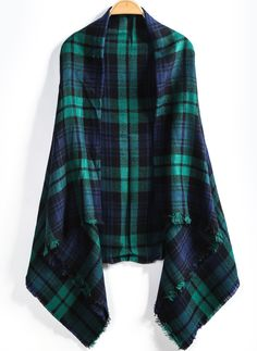 Green Plaid Fringe Scarve - Sheinside.com