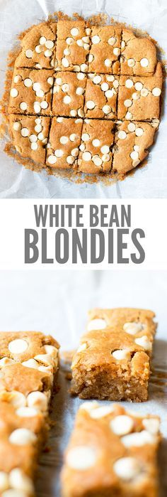 My kids beg for white bean blondies and devour the whole pan. Fine by me, they're naturally sweetened, healthy, made mostly of beans and really good! All clean eating ingredients are used for this healthy dessert recipe. Healthy Sweets, Healthy Dessert Recipes, Healthy Baking, Healthy Snacks, Healthy Desserts For Kids, Vegan Bean Recipes, White Bean Recipes, Weight Watcher Desserts, Low Carb Dessert