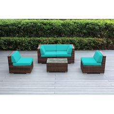 Ohana Outdoor Patio 5 Piece Mixed Brown Wicker Conversation Set with Cushions
