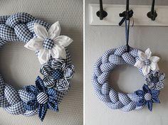 diy-napad-navod-latkovy-pleteny-veniec-07 Burlap Flower Wreaths, Fabric Wreath, Deco Mesh Wreaths, Diy Wreath, Diy Arts And Crafts, Xmas Crafts, Crafts To Make, Christmas Colors, Christmas Wreaths