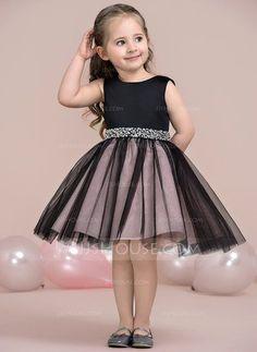 [US$ 79.99] A-Line/Princess Knee-length Flower Girl Dress - Satin/Tulle Sleeveless Scoop Neck With Beading (010115806)