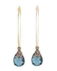 """Dana Kellin Blue Topaz Teardop Earrings Long drop earrings with teardrop shaped London Blue Topaz stone and small pave diamond teardrop charm 14k yellow gold 2"""" drop"""