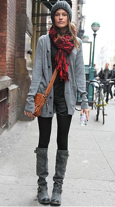 grey on grey layering 101 shorts in fall winter black leggings tights oversized sweater knit scarf, hat beanie girl gray grey boots casual grunge chic punk