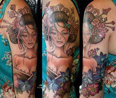 geisha, vintage, tattoo