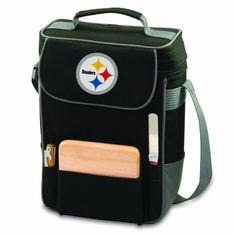 NFL Pittsburgh Steelers Duet Insulated 2-Bottle Wine and Cheese Tote by Picnic Time. $43.95. Exterior made from durable polyester canvas; adjustable padded shoulder strap. Includes 6-inch hardwood cutting board, stainless steel cheese knife, stainless steel corkscrew. Two compartments lined with ThermoGuard insulation to keep your wine at just the right temp. NFL Duet insulated shoulder tote for wine and snacks. A great way to transport your wine and snacks to any outd...