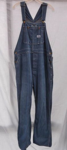 1d76a781b3e Vintage 1950s Overalls Coveralls Work Denim Big Smith Donut Hole Button Fly  Vintage Pants