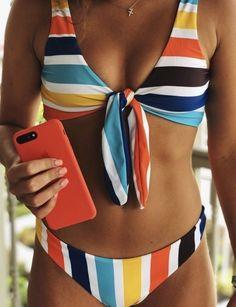 65 super ideas for clothes summer bathing suits Striped Bikini, Floral Bikini, Bandeau Bikini, Bikini Swimwear, Bikini Beach, Bikini Set, Summer Bathing Suits, Cute Bathing Suits, Summer Suits