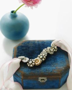 Button Bracelet and beautiful blue box : )
