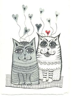 Two  Cats - Original Watercolor Painting -   Fine Art  -cats- hearts - valentines day. $21.00, via Etsy.
