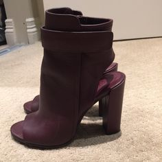 "*REDUCED PRICE* Vince Brigham open toe bootie The side-zip bootie gets contemporary with an open toe and heel, underscored by the layered-leather design. The Bordeaux wine color is beautiful for fall time. These booties are in immaculate condition and were only worn once. They are so comfortable because the leather perfectly hugs your feet.  4"" heel (size 8.5). 6"" boot shaft. Side zip closure. Leather upper/leather and synthetic lining/leather sole. By Vince; made in Italy. Vince Shoes"
