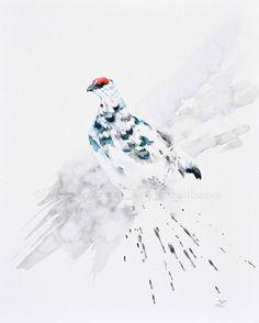 ARTFINDER: Rock Ptarmigan by Zaira Dzhaubaeva - Original watercolor painting on 100% cotton archival watercolor canvas board. Varnished.  Beautiful rock ptarmigan on the snow in impressionist style.  ...