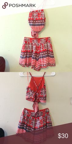 2 piece top (with back out) and short set Back out, spaghetti straps, orange and blue print.              Wide leg flowey shorts multiple blue and Orange print Love Culture Other