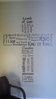 Jesus names in a cross
