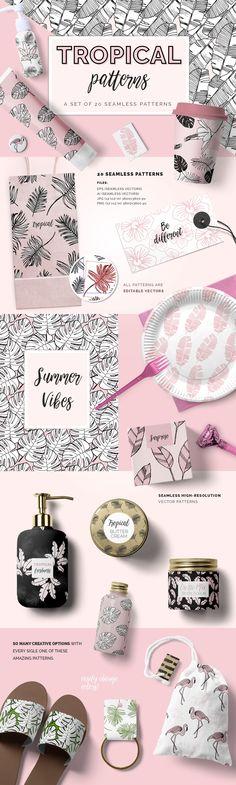 Tropical Patterns - Patterns #illustration digital paper clipart #graphics blog backgrounds -ad