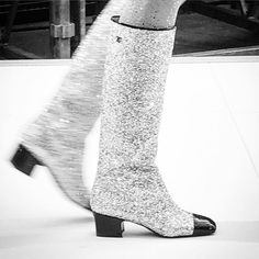 Glittery boots at Chanel @chanelofficial #chanel #pfw  via VOGUE PARIS MAGAZINE OFFICIAL INSTAGRAM - Fashion Campaigns  Haute Couture  Advertising  Editorial Photography  Magazine Cover Designs  Supermodels  Runway Models