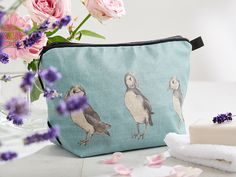 Gorgeous #puffin #oilcoth #washbag designed by #nikki szabo only £25. Come and check them out!