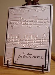 Just a Note! Such a simple design but the embossed music notes really make this special -- Wedding guest book, Memorial?, Major anniversary/birthday