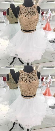 White cute sequin short prom dress, white homecoming dress