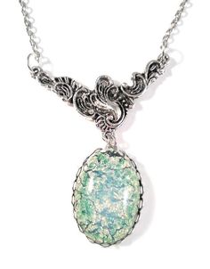 Vintage 1950's Japanese Green Opal Glass with Silver Floral Swirl Connector on Necklace by JujusCrafts