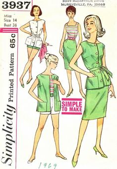 Simplicity Pattern 3937 Vintage 60's Simple To Make Summer Wardrobe - Top, Skirt, Blouse, Shorts - Complete Size 14 Bust 34