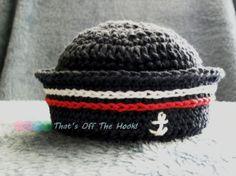 Crochet summer sailor hat  100 cotton  Photo by ThatsOffTheHook, $17.00