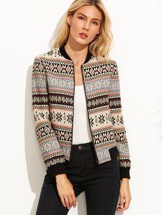 Модная куртка бомбер с этническим принтом